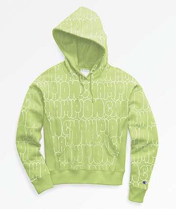 Champion Reverse Weave Bubble Script Green Hoodie