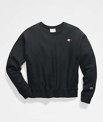 Champion Reverse Weave C Logo Black Crew Neck Sweatshirt