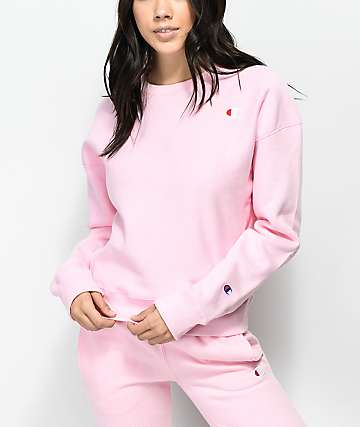 Champion Reverse Weave Candy Pink Crew Neck Sweatshirt