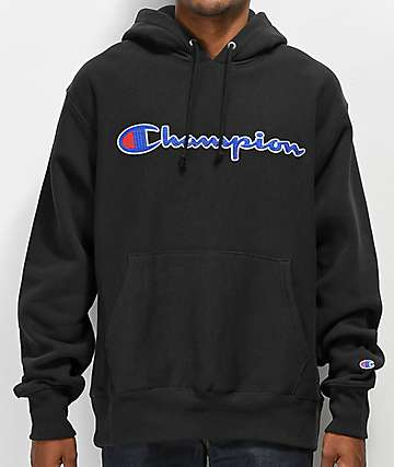 Champion Reverse Weave Chain Stitch Black Hoodie