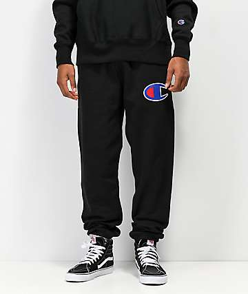 Champion Reverse Weave Chain Stitched C Logo Black Jogger Pants