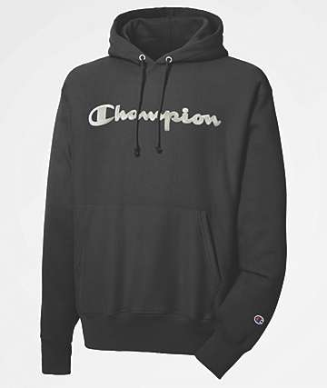 Champion Reverse Weave Chainstitch Black Hoodie