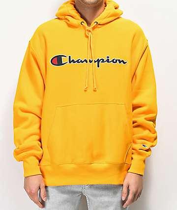 Champion Reverse Weave Chainstitch sudadera con capucha dorada
