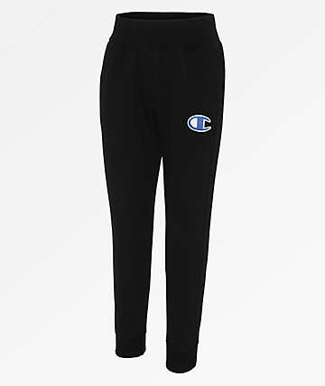 Champion Reverse Weave Chenille Black Jogger Sweatpants