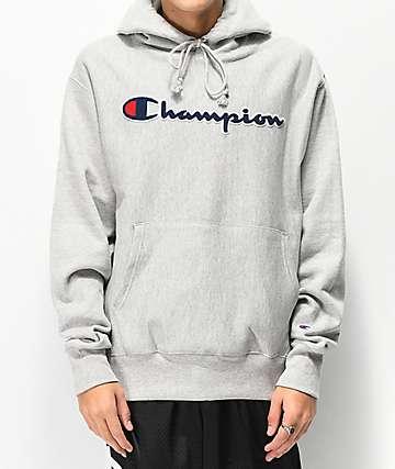 Champion Reverse Weave Chenille Logo Grey Hoodie