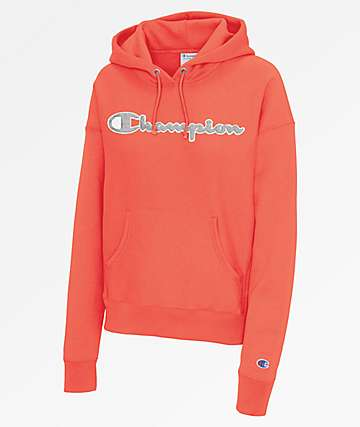 Champion Reverse Weave Chenille Logo Groovy Papaya Hoodie