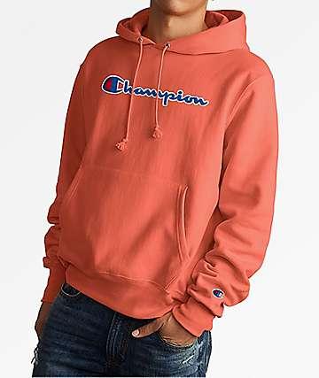 Champion Reverse Weave Chenille Logo Papaya Hoodie