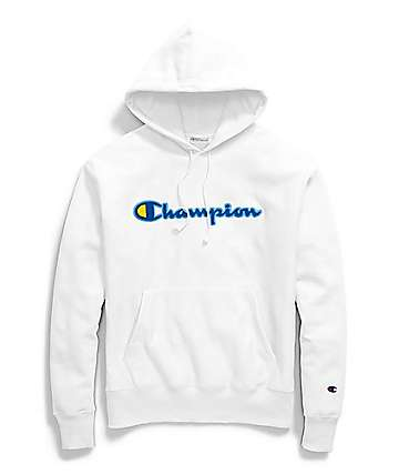 Champion Reverse Weave Chenille Logo White Hoodie