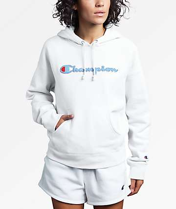 Champion Reverse Weave Chenille Logo White Hoodie