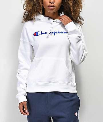 Champion Reverse Weave Chenille Logo sudadera con capucha blanca