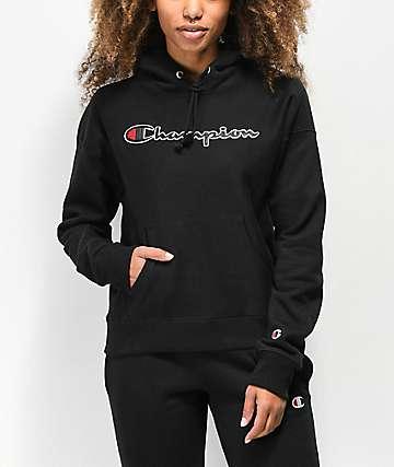 Champion Reverse Weave Chenille Logo sudadera con capucha negra