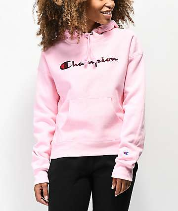 Champion Reverse Weave Chenille Logo sudadera con capucha rosa