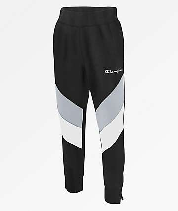 Champion Reverse Weave Colorblock Black Track Pants