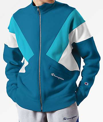 Champion Reverse Weave Colorblock Blue Track Jacket