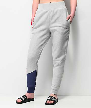 Champion Reverse Weave Colorblock Grey Jogger Sweatpants