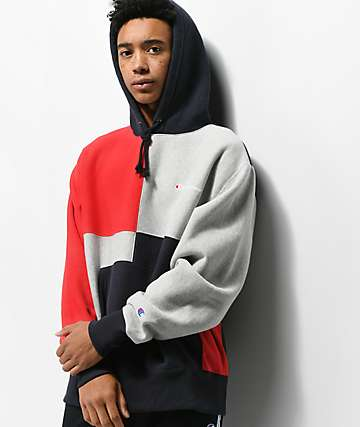Champion Reverse Weave Colorblock Navy Hoodie