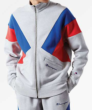 Champion Reverse Weave Colorblock Oxford Grey Track Jacket