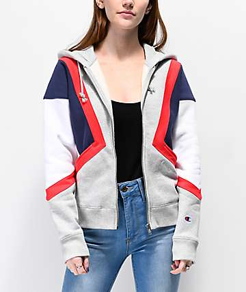 Champion Reverse Weave Colorblock White, Grey, Red & Blue Hoodie