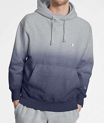 Champion Reverse Weave Dip Dye Indigo & Grey Hoodie