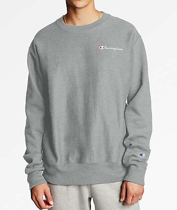 Champion Reverse Weave Embroidered Small Script Oxford Grey Crew Neck Sweatshirt