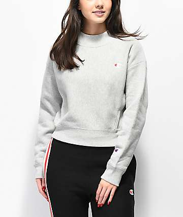 Champion Reverse Weave Grey Mock Neck Crop Sweatshirt