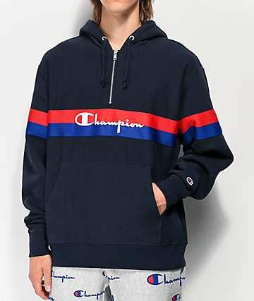 Champion Reverse Weave Half Zip Navy Blue Hoodie