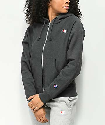 Champion Reverse Weave Heather Granite Zip Up Hoodie bf8a36355c