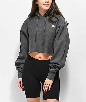 Champion Reverse Weave Heather Grey Crop Hoodie