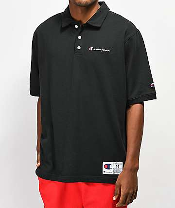 0572267d Champion Reverse Weave Heavyweight Black Polo