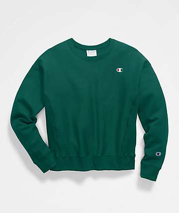 Champion Reverse Weave Jeweled Jade Crew Neck Sweatshirt