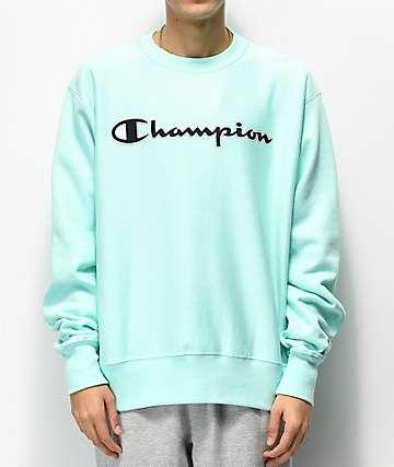 Champion Reverse Weave Mesh & Leather Logo Mint Green Crew Neck Sweatshirt