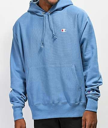 Champion Reverse Weave Mylar sudadera con capucha azul