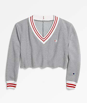 Champion Reverse Weave Oxford Grey Cropped V-Neck Sweatshirt