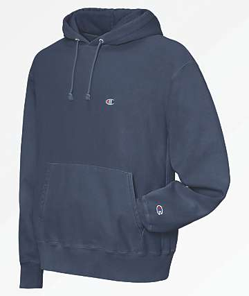 Champion Reverse Weave Pigment Dyed Blue Hoodie