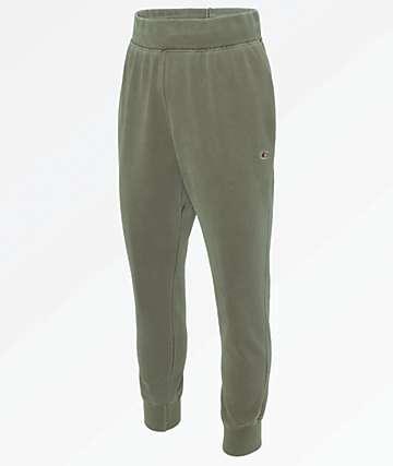 Champion Reverse Weave Pigment Dyed Green Jogger Sweatpants