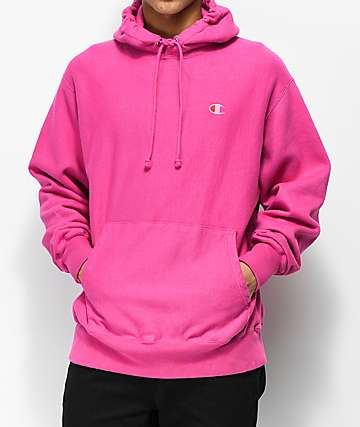 Champion Reverse Weave Pigment Dyed Pink Hoodie