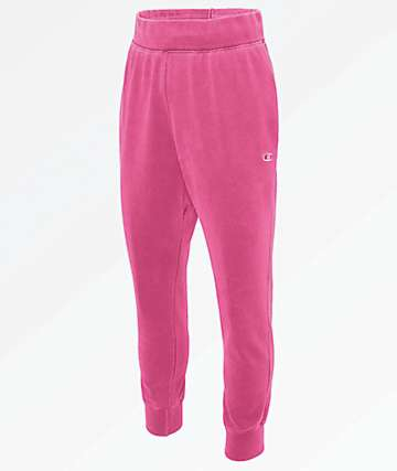 Champion Reverse Weave Pigment Dyed Pink Jogger Sweatpants