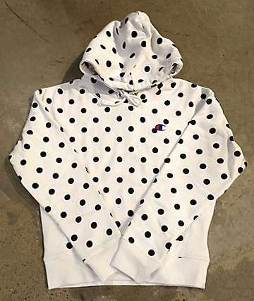 Champion Reverse Weave Polka Dot White & Black Hoodie