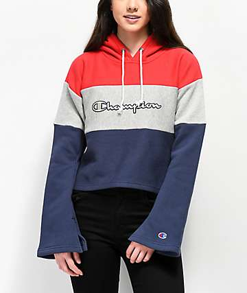 Champion Reverse Weave Red, White & Blue Crop Hoodie