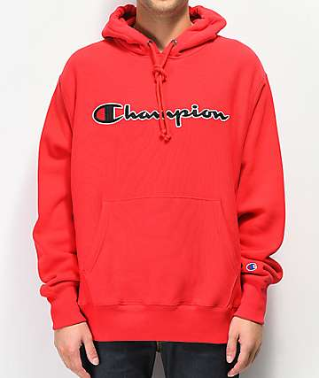 Champion Reverse Weave Red Chainstitch sudadera con capucha roja