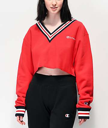 Champion Reverse Weave Red Crop V-Neck Sweatshirt