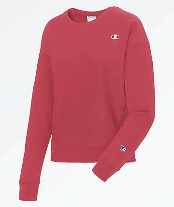 Champion Reverse Weave Red Spark Crew Neck Sweatshirt