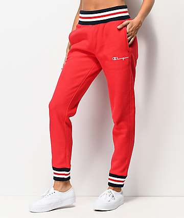 Champion Reverse Weave Rib Trim Red Jogger Sweatpants