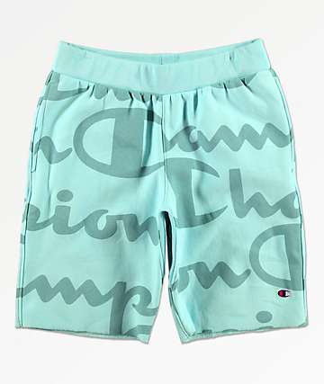 Champion Reverse Weave Script Green Sweat Shorts