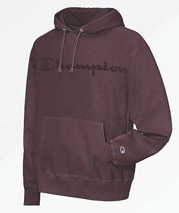 Champion Reverse Weave Script Logo Maroon Hoodie