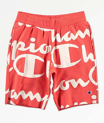 Champion Reverse Weave Script Orange Sweat Shorts