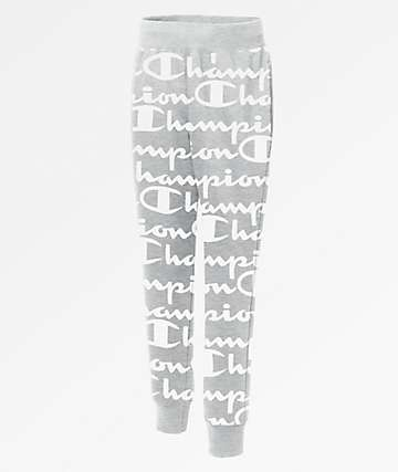 Champion Reverse Weave Script Oxford Grey Jogger Sweatpants