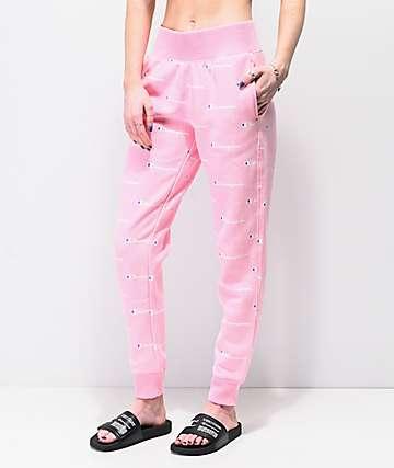 Champion Reverse Weave Script Pink Jogger Sweatpants