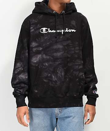 Champion Reverse Weave Scrunch Dye Black Hoodie