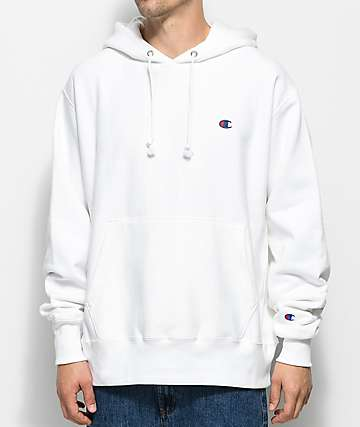 Champion Reverse Weave Small C Logo White Hoodie